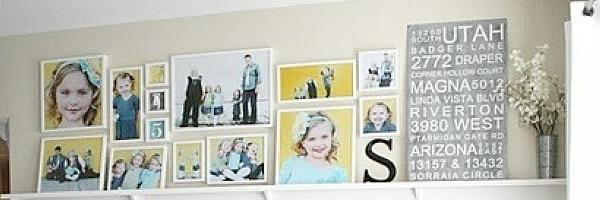 使用架子搁板的儿童摄影照片墙创意